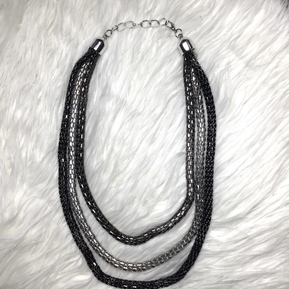 Silver and Black Snake Chain